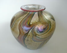 """Isle of Wight Glass Irridescent Gold & Pink Coloured Vase - 5 1/8""""(13cms)"""