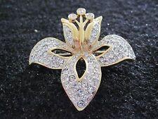 Swarovski Swan Signed Vintage Gold Tone Crystal Orchid Brooch  Rare Retired