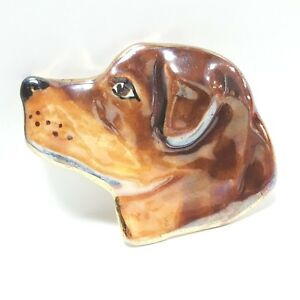 Dog Brooch Pin Brown Hand Painted Iridescent Glossy Finish Artisan Large Breed