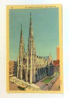 New York City NY St Patricks Cathedral Linen Vintage Postcard