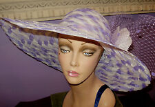 """Derby Hat LAVENDER AND WHITE Church Wide Brim Hats 22 1/2"""" Circumference"""