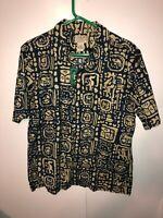 LL Bean Men's Hawaiian Aztec Shirt Size Medium M Blue & Tan NEW WITH TAGS NICE