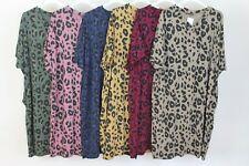 New Italian Animal Print Lagenlook Boho V Neck Jersey Soft Cotton Stretch Dress