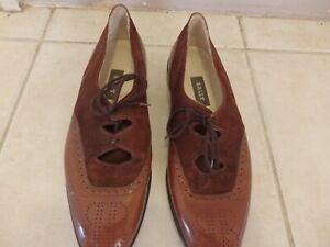 BALLY WOMENS TAN LEATHER SUEDE OPEN BROGUES SHOES 40.5 ITALY  VGC - FREE POST