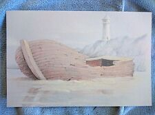 Original colored pencil drawing Wrecked boat