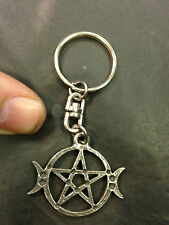 KEYRING ASTRAL PEWTER TRIPLE MOON PAGAN KEYCHAIN HAND CRAFTED UK FINISH NEW