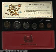 SINGAPORE 1 5 10 20 50 $1 1988 YEAR OF DRAGON UNC COMMEMORATIVE MINT COIN SET