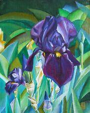 Original Bild Gemälde Art Deco Öl auf Holz Blumen signiert Unikat Iris leuchtend