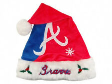 Atlanta Braves Baseball Santa Hat Cap 2-Tone Red & Blue Christmas XMAS Holly Fur