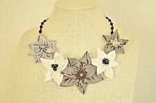 Statement Necklace Grey White Silver Fabric Floral Upcycle Handmade Crystal Bead