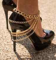Fußkette Kette Schuhkette Statement silber gold Blogger Körperkette High Heels