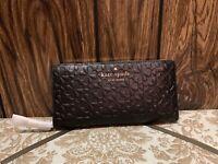 NWT Kate Spade Hollie Spade Clover Geo Embossed LG Continental Wallet Black
