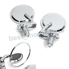 """CHROME UNIVERSAL MOTORCYCLE BIKE 3"""" ROUND 7/8"""" HANDLE BAR END REAR VIEW MIRRORS"""