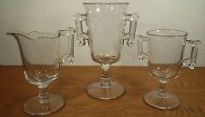 EAPG Aetna Glass Wheel & Comma Celery Vase, Cream & Sugar Bowl Server Set1881