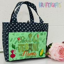 Personalised Vegan Girls Ladies Polka Dot Spotty Insulated Lunch Bag ST251