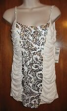 DAYTRIP Ladies' Small CAMI/TANK TOP white w/ silver sequins & adjustable straps