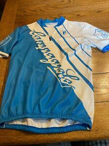 Giordana Blue & White Cycling Jersey Short Sleeve 1/4 Zip - Size 5 (L)