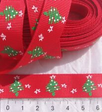 1M RUBAN LIBERTY GROS GRAIN SATIN ROUGE SAPIN VERT NOEL 16MM *X15