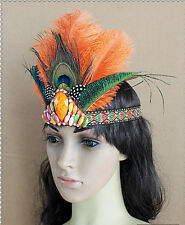 Ostrich Feather Headband Peacock Headgear Carnival Party Hat Halloween Headpiece