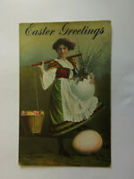 EA4 Lot of 5 Easter Lady with Egg Basket + Colored Eggs  Divided Back Not Posted