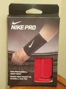 Nike Pro Baseball Wrist Wrap - Red with White Swoosh