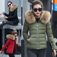 Women's Winter Down Cotton Parka Hooded Coat Quilted Jacket With Fur Collar