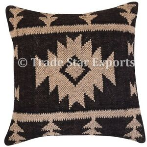 Indian Kelim Jute Cushion Cover 18x18 Vintage Rug Hand Woven Rustic Pillow Case