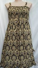 Autograph Black yellow Holiday Dress / Skirt asymmetrical uneven hem 26 shirred