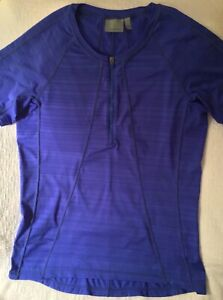 ATHLETA ROYAL BLUE HALF ZIP SHORT SLEEVE CREW NECK CYCLING JERSEY, WOMENS LG