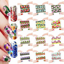 12 Sheets Nail Manicure Tips Water Transfer Decals Sticker Flowers 1893-1904