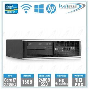 HP Elite Desktop PC SFF Quad Core i7 16GB RAM 240GB SSD Windows 10 Pro Wi-Fi