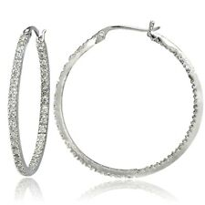 Sterling Silver Cubic Zirconia Inside Out 30mm Round Hoop Earrings