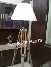Nautical Chrome Finish Shade Lamp Teak Tripod Floor Lamp Shade Home Decor