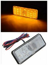 2x Rectangle Reflector Yellow LED Rear Brake Stop Light for Car Motorcycle