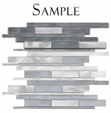 *SAMPLE Grey & Silver Brushed Aluminum Kitchen Bath Backsplash Mosaic Tile