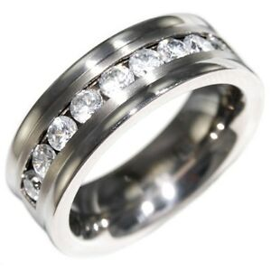 0.9CTW BRILLIANT STONE COMFORT FIT TITANIUM WEDDING Rings BAND size 8,9,10,11,12