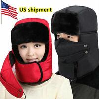 Men Women Warm Ushanka Trapper Trooper Hat Russian Ear Flap Chin Strap Cap SKI