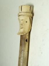 Antique Folk Art Carved Uncle Sam Figural Man Bone Umbrella Handle Parisol Cane