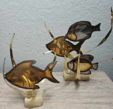 Vintage Mario Jason Metal Sculpture Fish Nautical Rare Lot of 2
