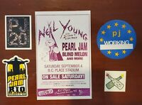 Vintage 1993 Pearl Jam Neil Young Blind Melon  2-sided Concert Handbill W/Extras