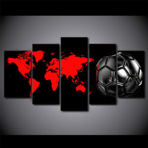 Soccer Red World Map 5 piece HD Art Poster Wall Home Decor Canvas Print