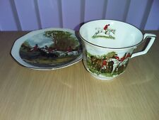 """Queen's Rosina Bone China """"Hunting Scene"""" Breakfast Cup & Saucer, multiples  VGG"""