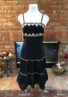 Gypsy BoHo Chic Sheer Black Embroidery Sequin Accent Maxi Dress sz Med