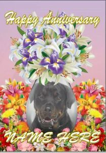 Rottweiler Dog Anniversary Personalised Greeting Card Dad MumcodeFV221