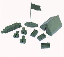 1 Set Military Tent Sandbag Drum Flag Models Toy Soldier Army Men Accessories