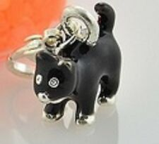 PRETTY LITTLE BLACK AND SILVER CAT CLIP ON CHARM FOR BRACELETS - 3D
