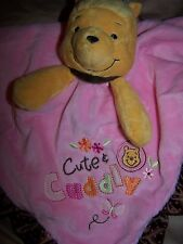 NWT DISNEY BABY Pink POOH Cute & Cuddly RATTLE BEAR SECURITY BLANKET LOVEY HTF