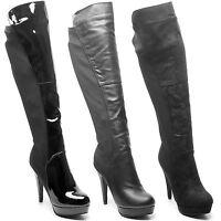 Womens Ladies High Stiletto Heel Platform Zip Knee High Long Boots Shoes UK 3-8