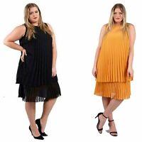 Zeffa - Kleid Plisseekleid - Two-in-One-Design - Schwarz & Gelb -  40/42 - 56/58