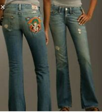 EUC TRUE RELIGION women's Bobby buddha embroidered LOW rise wide leg jeans US27
